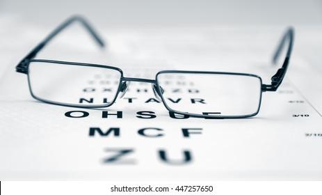 Clear Black modern glasses on a eye sight test chart.