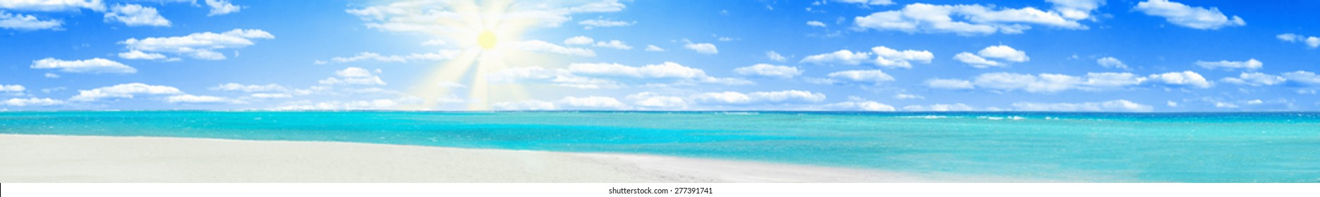 Clear blue coral water of a Red Sea and beach with white sand