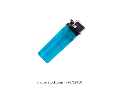 Clear Blue plastic gas lighter. Gas lighter isolated on white background with clipping part for design.
