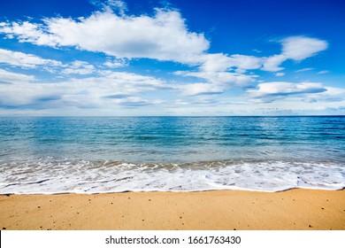 clear blue sky by the beach, beach and blue sky, seaside