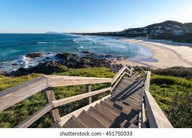 Clear blue sky morning sunrise at Lighthouse Beach port Macquarie Australia.popular travel destination
