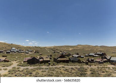 Clear blue sky over the abandoned gold rush town of Bodie, California