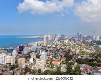 Clear blue sky over city of Colombo, Sri Lanka
