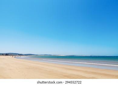 Clear blue sky over emerald sea, Agadir, Morocco