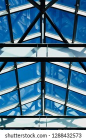 Clear blue sky over glass ceiling