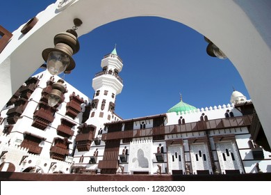 Clear blue sky over the typical white architecture in Jeddah. Saudi Arabia