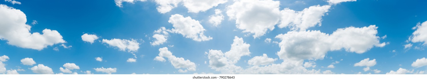 clear blue sky with plain white cloud with space for text background.  panorama