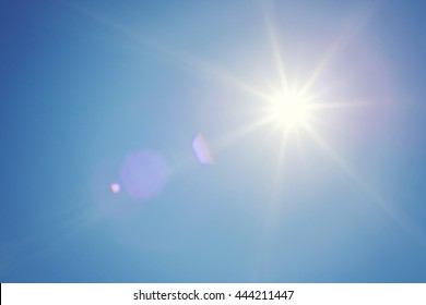 Clear blue sky and sun. Sun rays. Concept of energy, happy, weather forecast or religion. Shiny daylight.