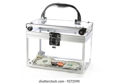 Clear box with money