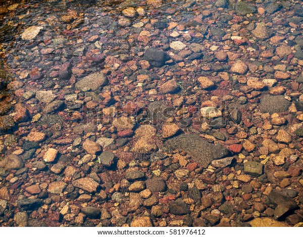 A clear brook in rural New Jersey with smooth stones of various shapes and sizes.