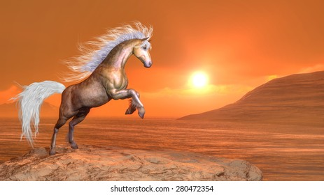 Clear brown horse rearing by orange sunset - 3D render