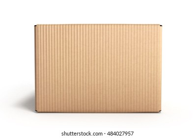 clear cardboard box 3d render on white background