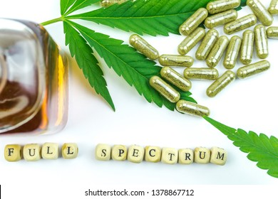 Clear CBD Cannabidiol capsules and hemp leaf with letter dices isolated on white