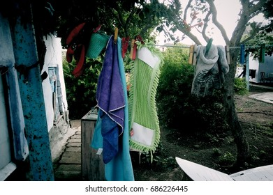 Clear clothes on rope
