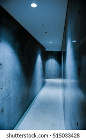 Clear concrete corridor with beautiful lighting.