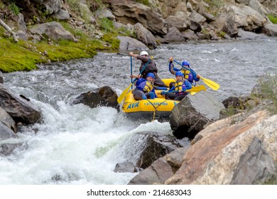CLEAR CREEK, COLORADO/U.S.A. - August 31, 2014: Late season white water rafting adventure continues on the Clear Creek River just 30 minutes from Denver on August 31, 2014 in Clear Creek, Colorado