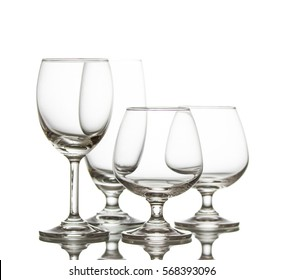 Clear crystal wineglasses,closeup shot on white isolated.