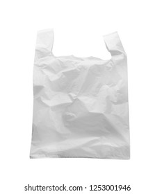 Clear disposable plastic bag isolated on white