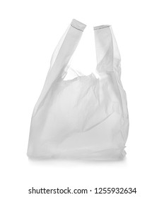Clear disposable plastic bag on white background