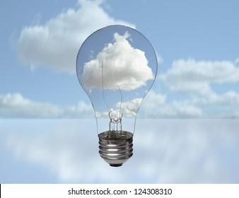 A clear electric light bulb against blue sky and puffy cloud background