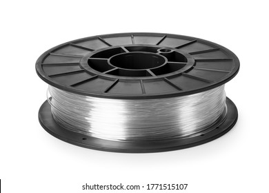 clear filament for 3d printer isolated on white background
