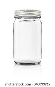 Clear glass bottle with silver cap isolated on white background with clipping path