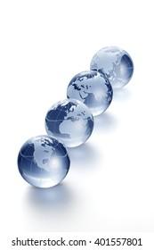 Clear glass globe on white background