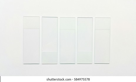 Clear glass microscope slides, ground edges on white background.