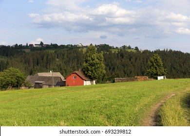 Clear green Countryside from the summer Mountains Beskydy in north east Bohemia, Czech Republic