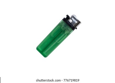 Clear Green plastic gas lighter. Gas lighter isolated on white background with clipping part for design. lighter