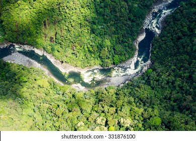 Clear Green Water Of Pastaza River In Ecuadorian Andes Aerial Shot