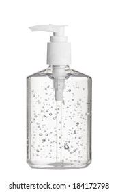 Clear hand sanitizer in a clear pump bottle isolated on a white background. Hand sanitizer is used for killing germs, bacteria and viruses, some of which can cause H1N1 flu or swine flu.