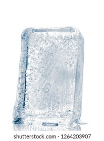 Clear ice block, isolated on white background, clipping path included.