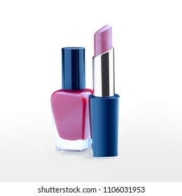 Clear image of a purple lipstick and nail polish bottle against white background with a soft reflection. Clipping path