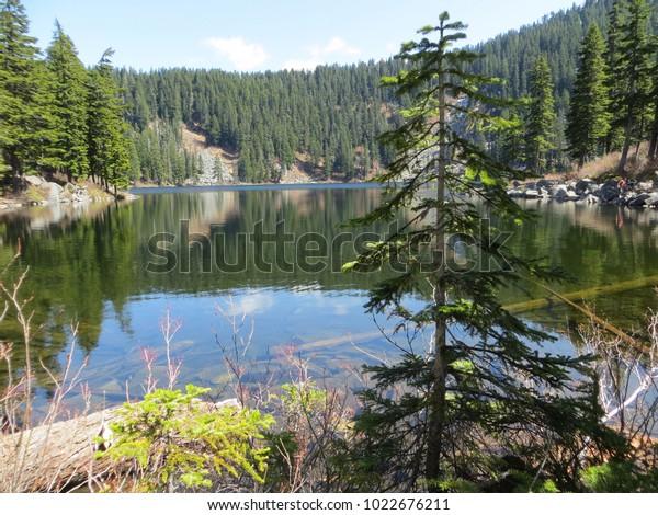 Clear Lake Hiking Washington State Stock Photo (Edit Now