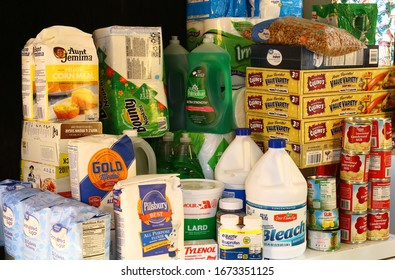 Clear Lake, WI / USA  - March 15 / 2020: Stockpile of food and household supplies