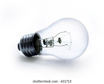 Clear lightbulb on a white background.