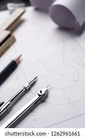 Clear lines of drawing on paper form a fragment of the drawing. compasses and blueprint. selective focus