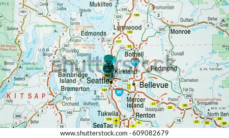 Clear Map Seattle Washington Highlighted Green Stock Photo Edit Now