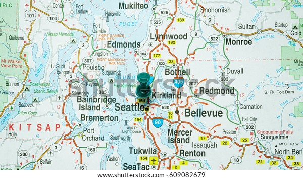 Clear Map Seattle Washington Highlighted Green Stock Photo ...
