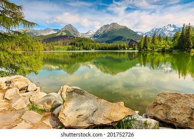Clear mountain lake in Vysoke Tatry,Strbske Pleso,Slovakia,Europe