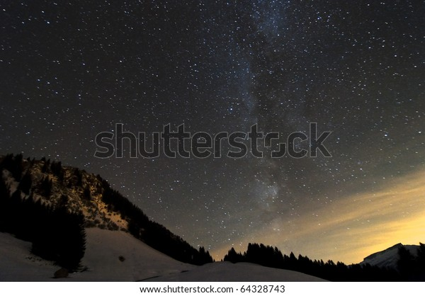A clear night in the mountains in Oberstdorf, Germany, showing stars