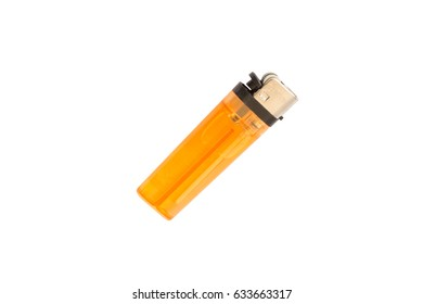 Clear Orange plastic gas lighter. Gas lighter isolated on white background with clipping part for design. lighter, lighter â??lighterâ?� â??lighterâ?� â??lighterâ?� â??lighterâ?� â??lighter â??lighter