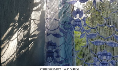 Clear ornate shadows from vintage lace tulle. Blue painted window frame behind lace tulle curtain in bright sunlight with blurred green foliage background. Granny's cozy home. Retro interior.
