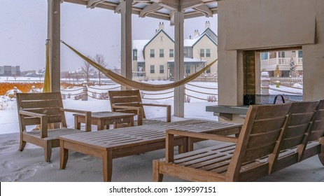 Clear Panorama Snowy patio of a clubhouse in Daybreak Utah