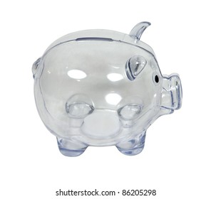 Clear piggy bank in profile used to save change for a future purchase - path included