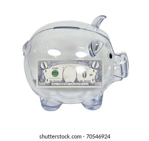 Clear piggy bank used to save money with zero money inside - path included