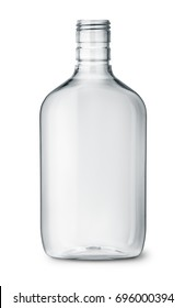 Clear plastic alcohol flasks isolated on white
