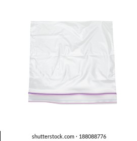 clear plastic bag with lock isolated on white background