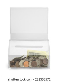 Clear Plastic Donation Box With Money and Copy Space Isolated on White Background.